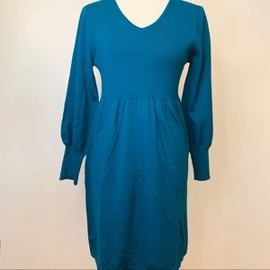 NY Collection Women's Balloon Sleeve Teal Dress MP